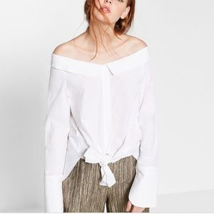 Zara white off the shoulder blouse